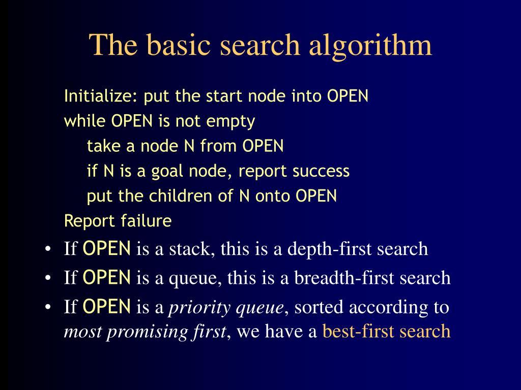 The basic search algorithm
