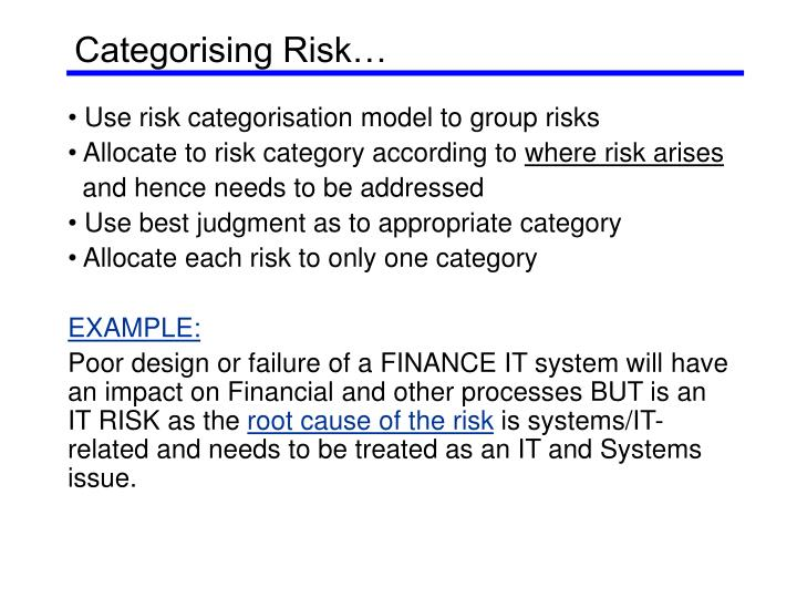 Categorising risk