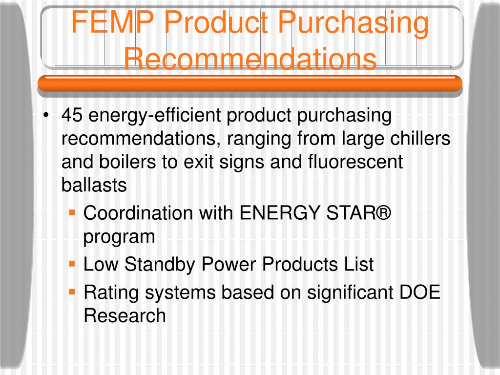 FEMP Product Purchasing Recommendations