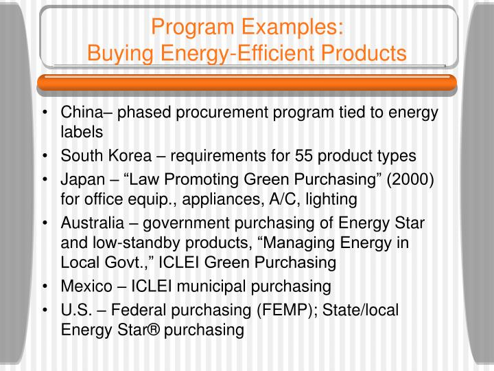 Program examples buying energy efficient products