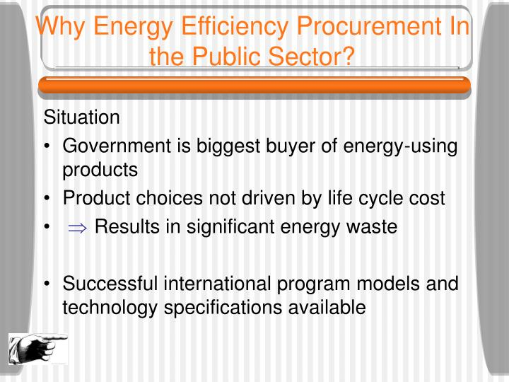Why energy efficiency procurement in the public sector
