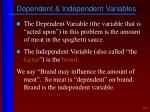 dependent independent variables