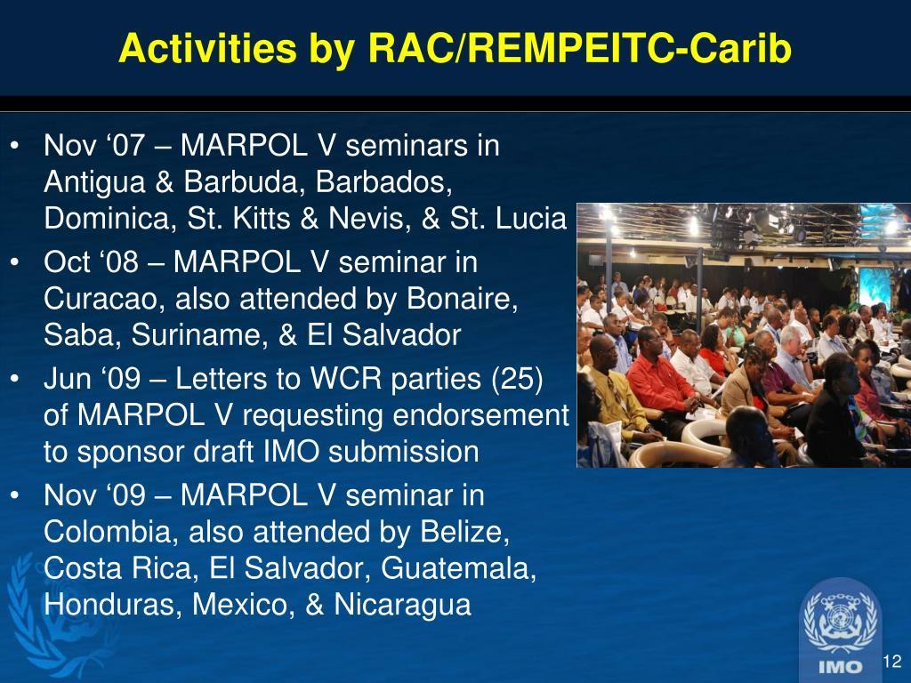 Activities by RAC/REMPEITC-Carib