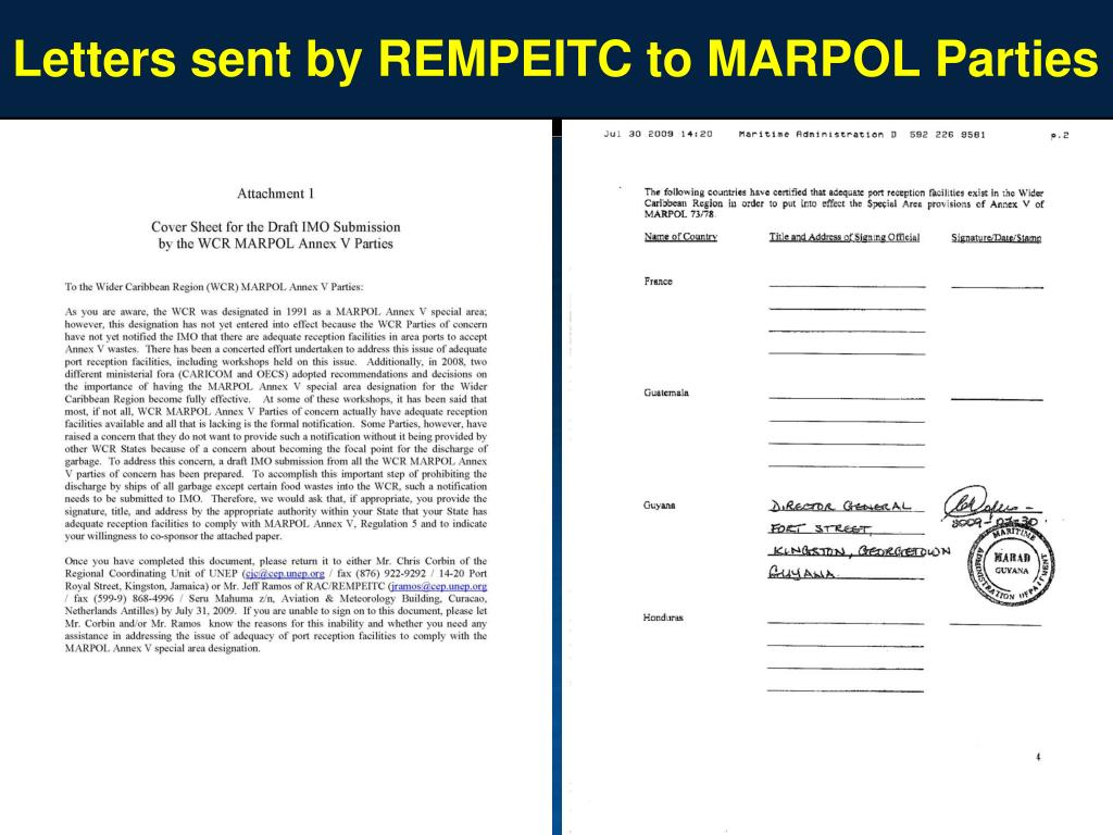 Letters sent by REMPEITC to MARPOL Parties