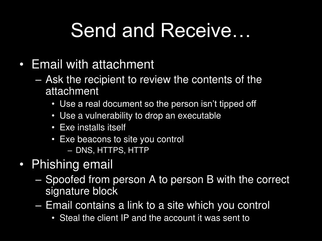 Send and Receive…