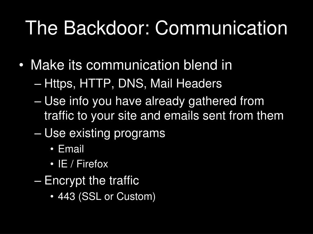 The Backdoor: Communication