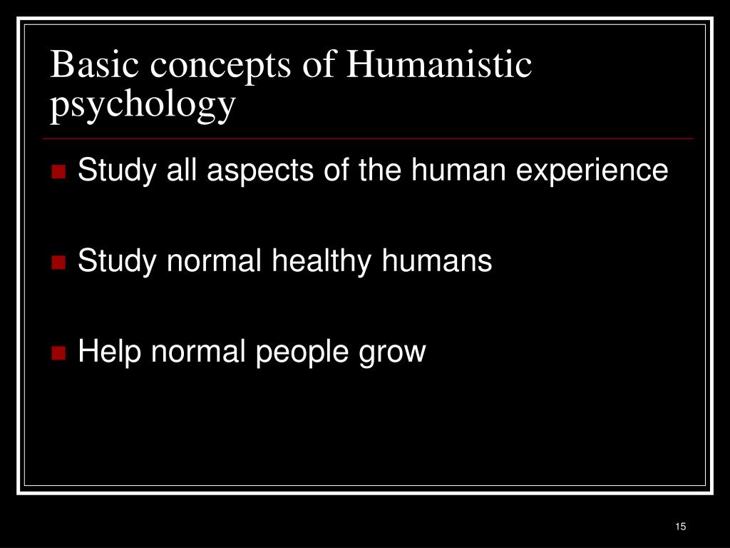 Basic concepts of Humanistic psychology