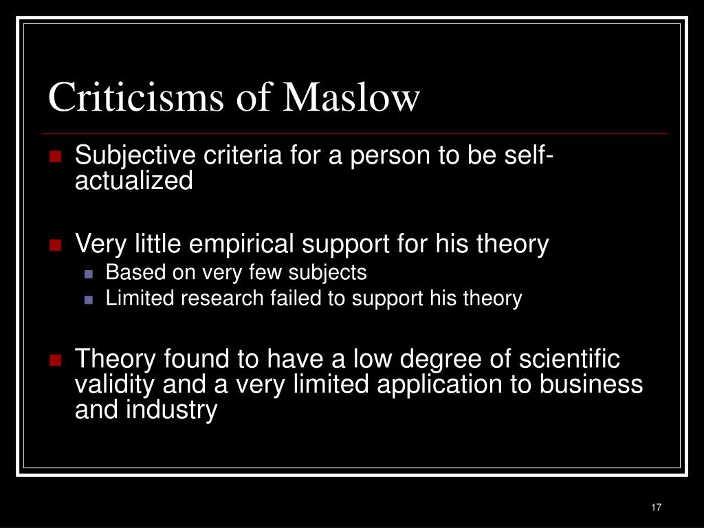 Criticisms of Maslow