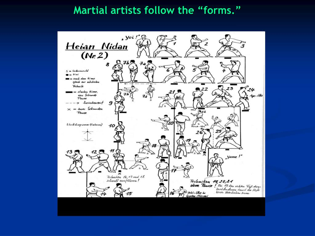"Martial artists follow the ""forms."""