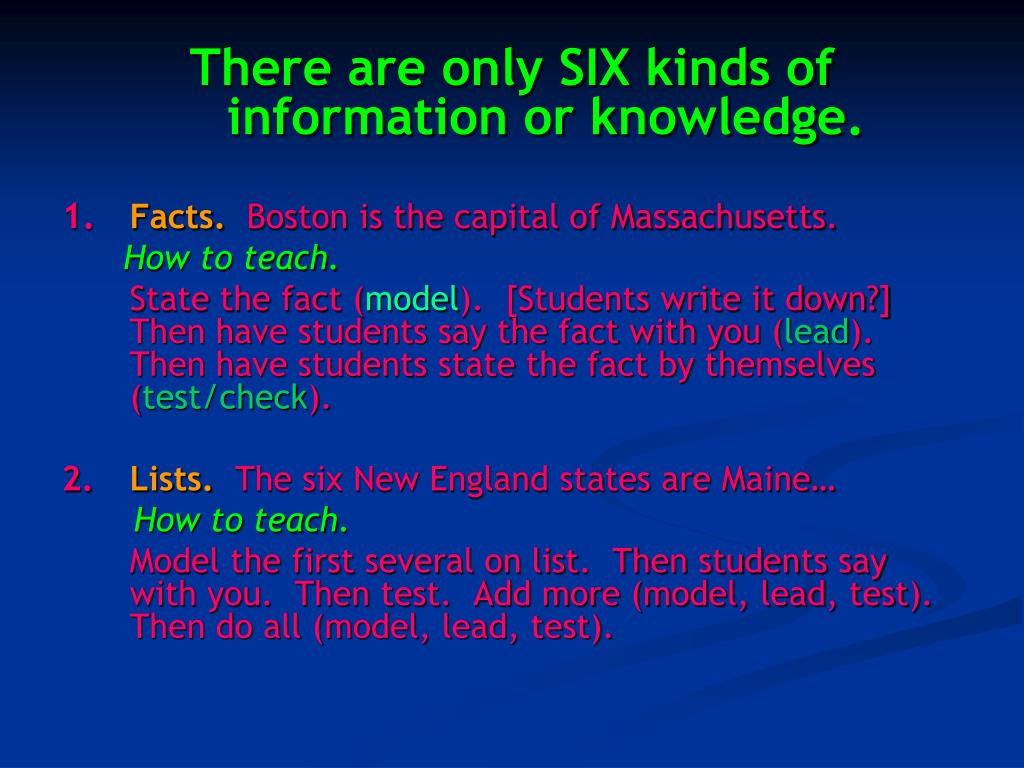 There are only SIX kinds of information or knowledge.