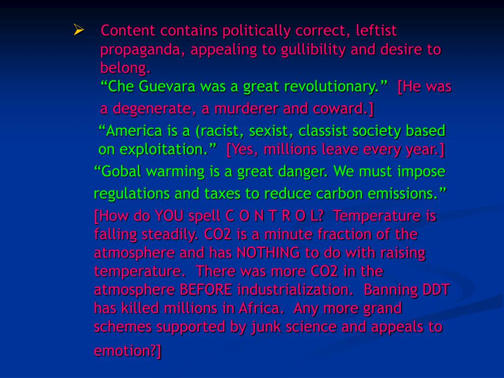 Content contains politically correct, leftist