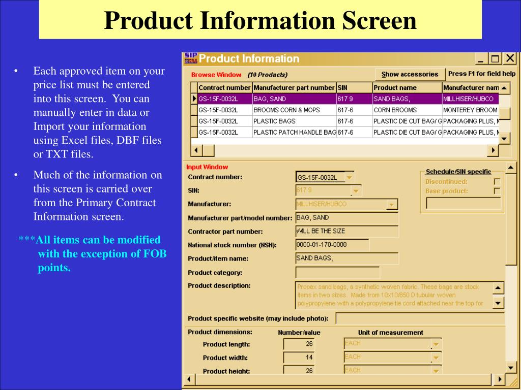 Product Information Screen