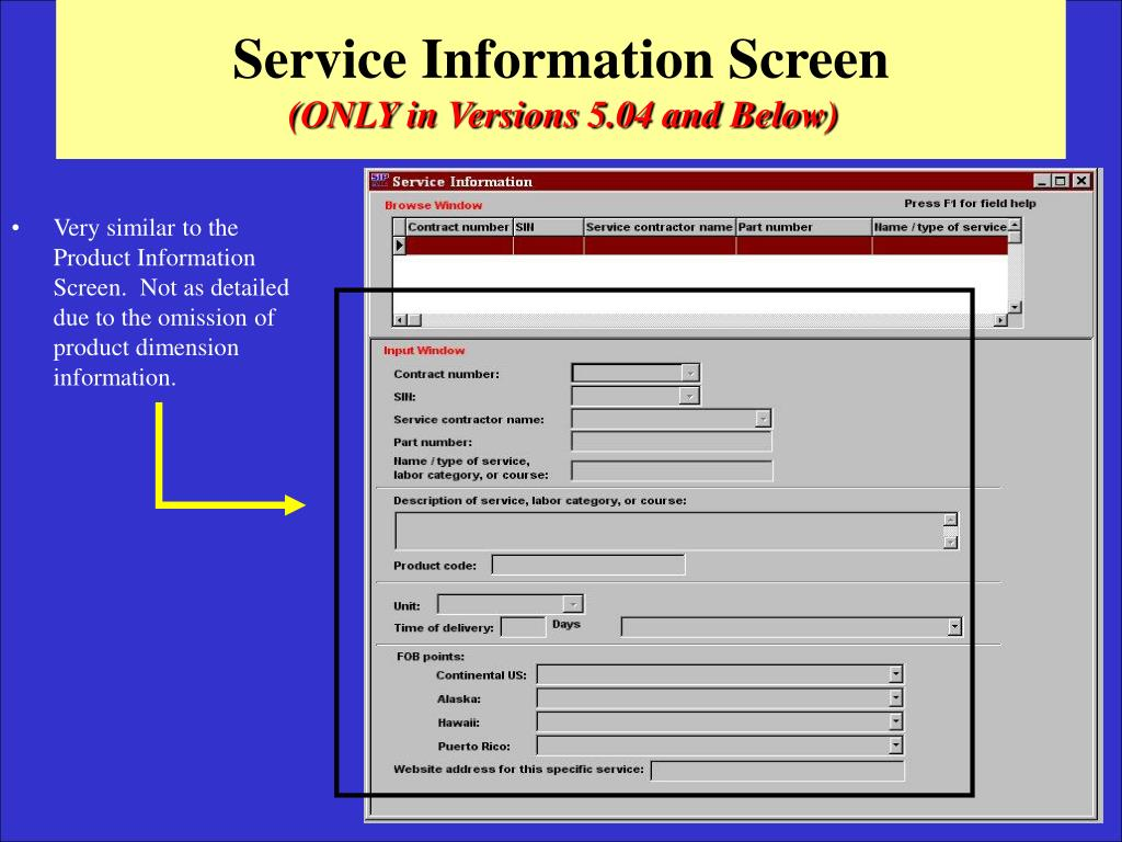 Service Information Screen