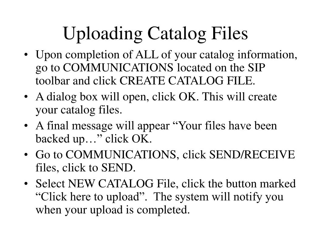 Uploading Catalog Files