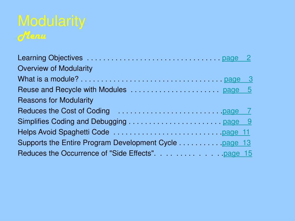 modularity menu l.