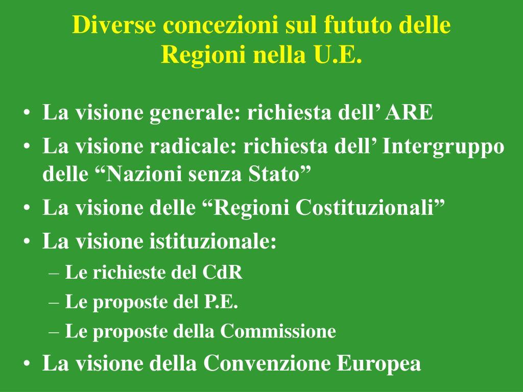 Diverse concezioni sul fututo delle Regioni nella U.E.