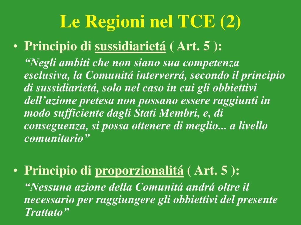 Le Regioni nel TCE (2)