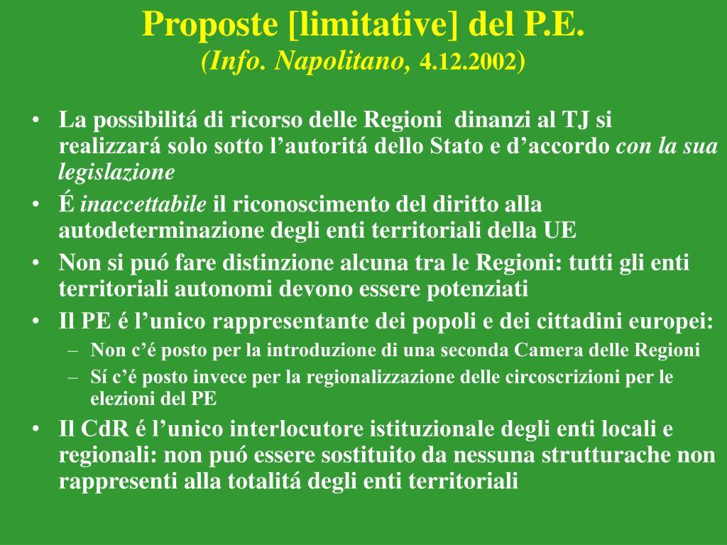 Proposte [limitative] del P.E.