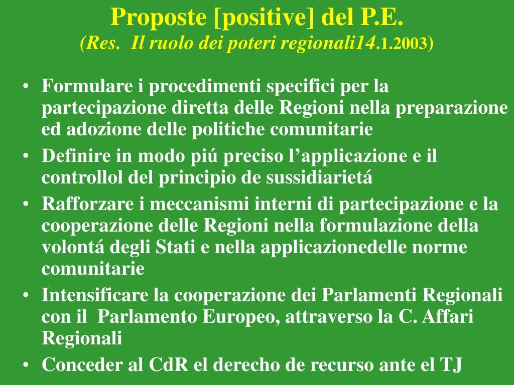 Proposte [positive] del P.E.