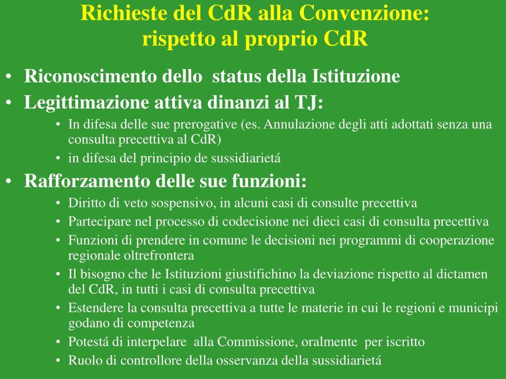 Richieste del CdR alla Convenzione: