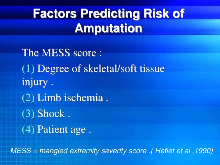 Factors Predicting Risk of Amputation