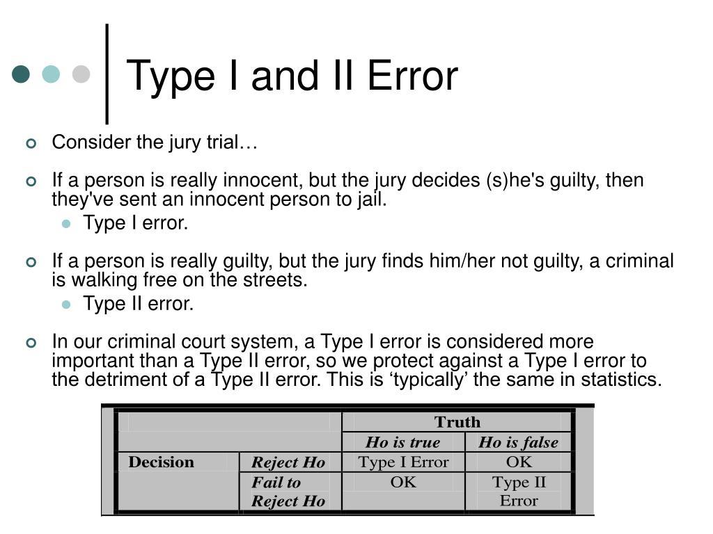 Type I and II Error