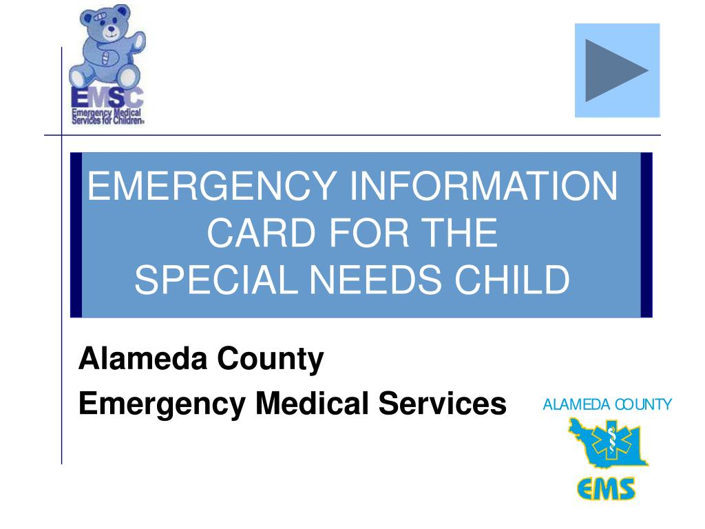 EMERGENCY INFORMATION CARD FOR THE