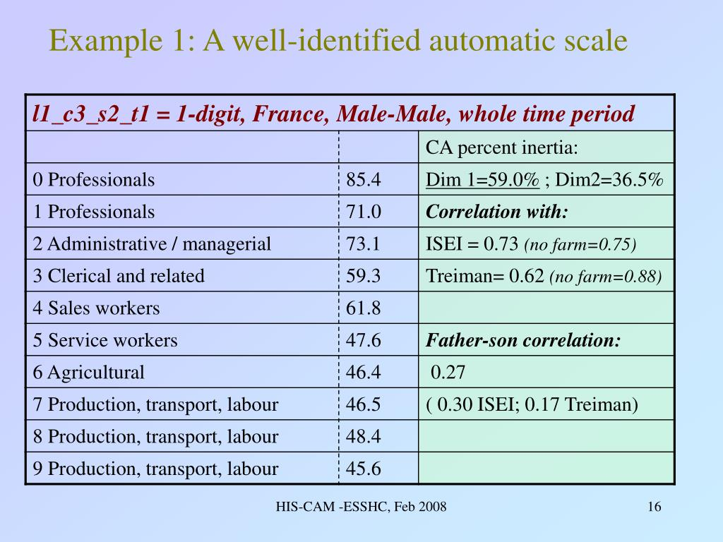 Example 1: A well-identified automatic scale