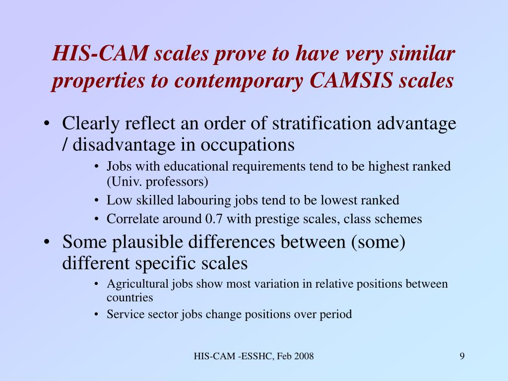 HIS-CAM scales prove to have very similar properties to contemporary CAMSIS scales