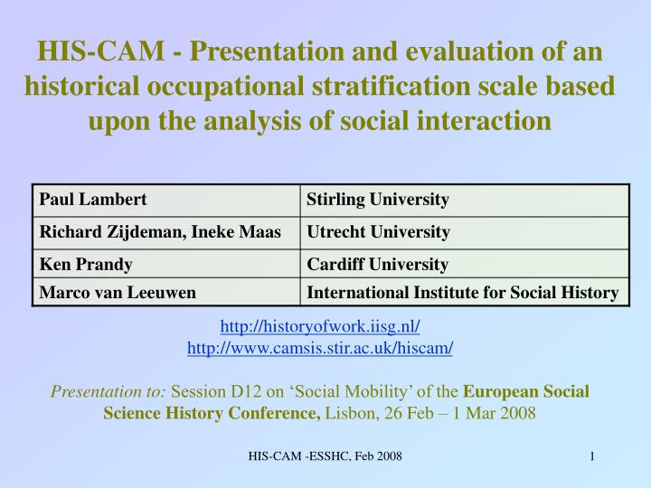 HIS-CAM - Presentation and evaluation of an historical occupational stratification scale based upon ...