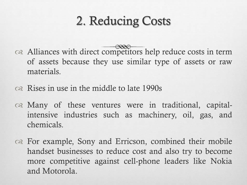 2. Reducing Costs