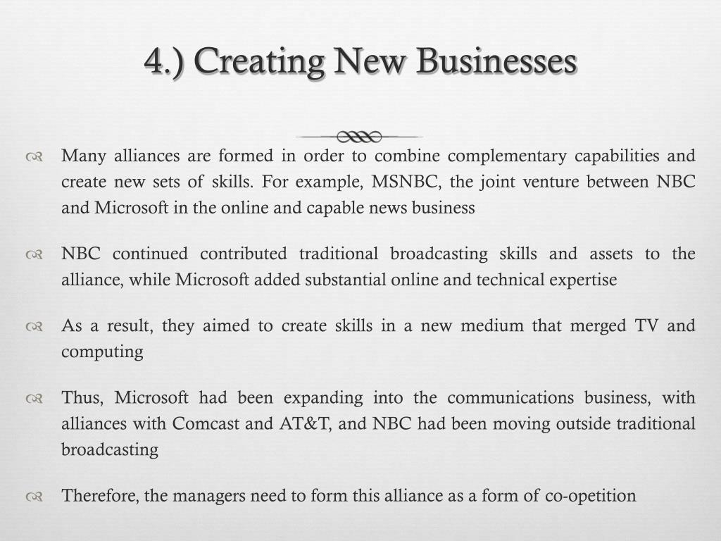 4.) Creating New Businesses