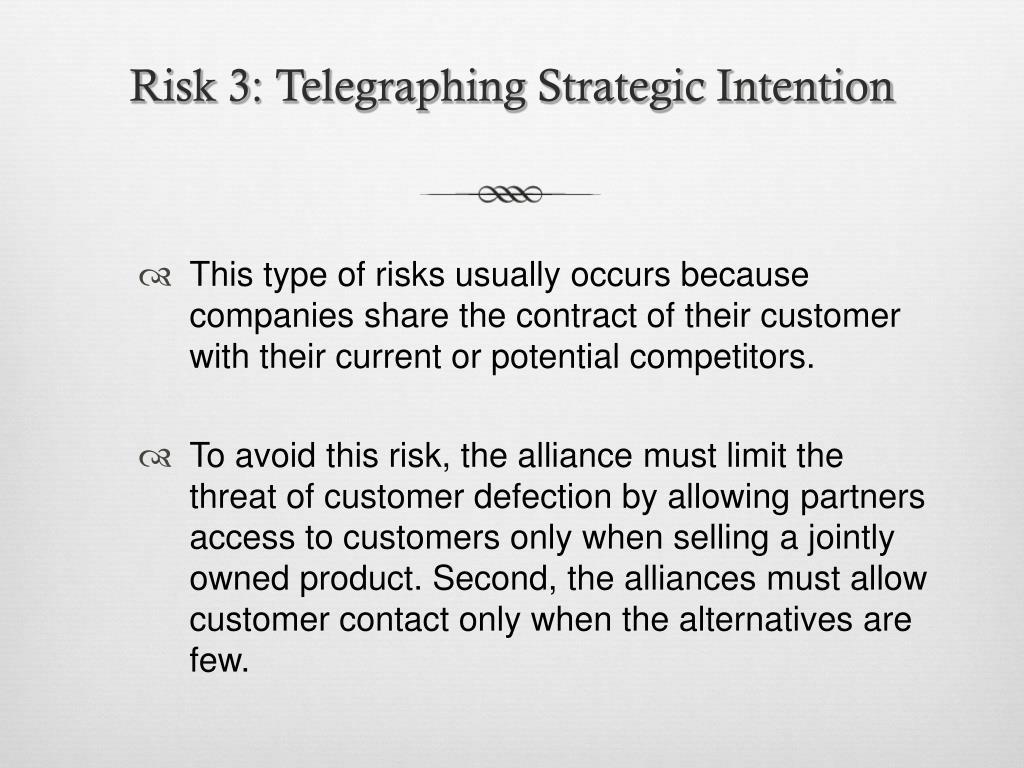 Risk 3: Telegraphing Strategic Intention
