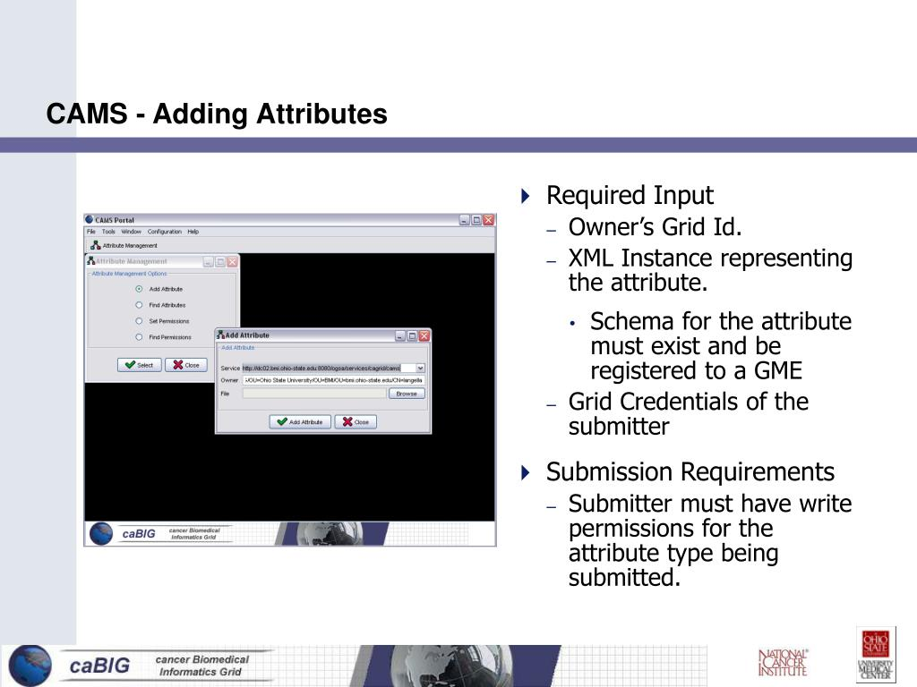 CAMS - Adding Attributes