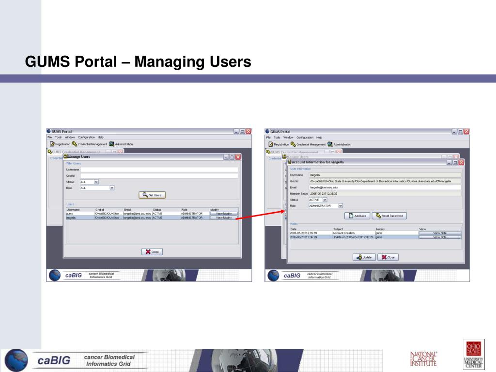 GUMS Portal – Managing Users