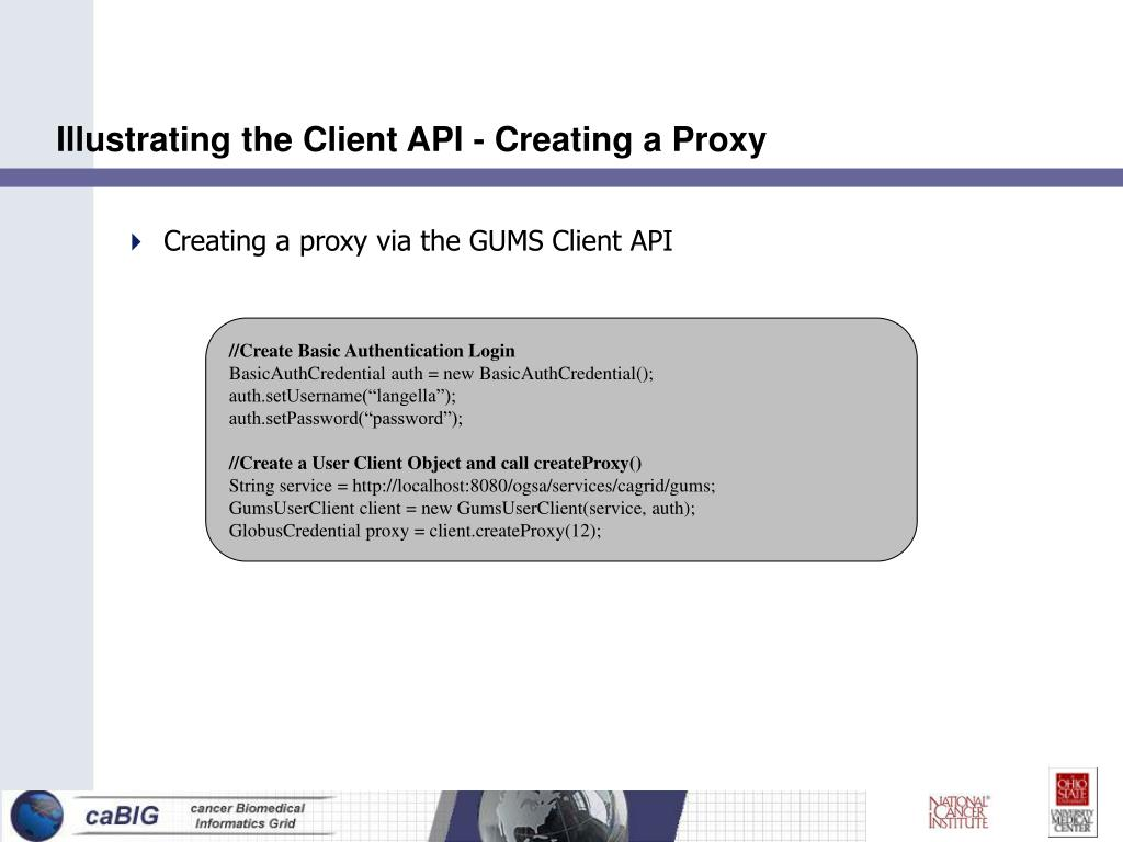 Illustrating the Client API - Creating a Proxy