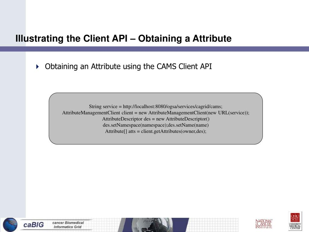 Illustrating the Client API – Obtaining a Attribute