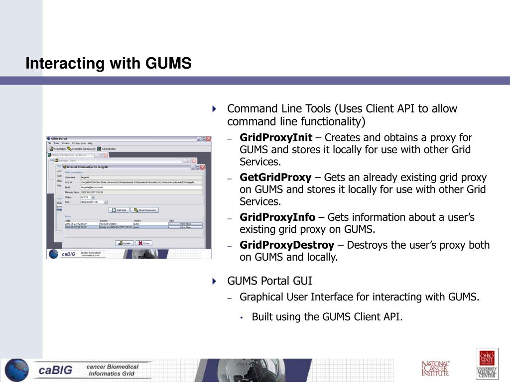 Interacting with GUMS