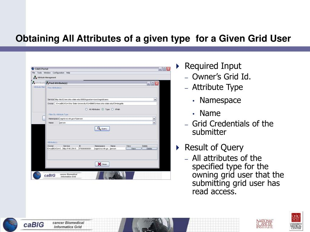 Obtaining All Attributes of a given type  for a Given Grid User