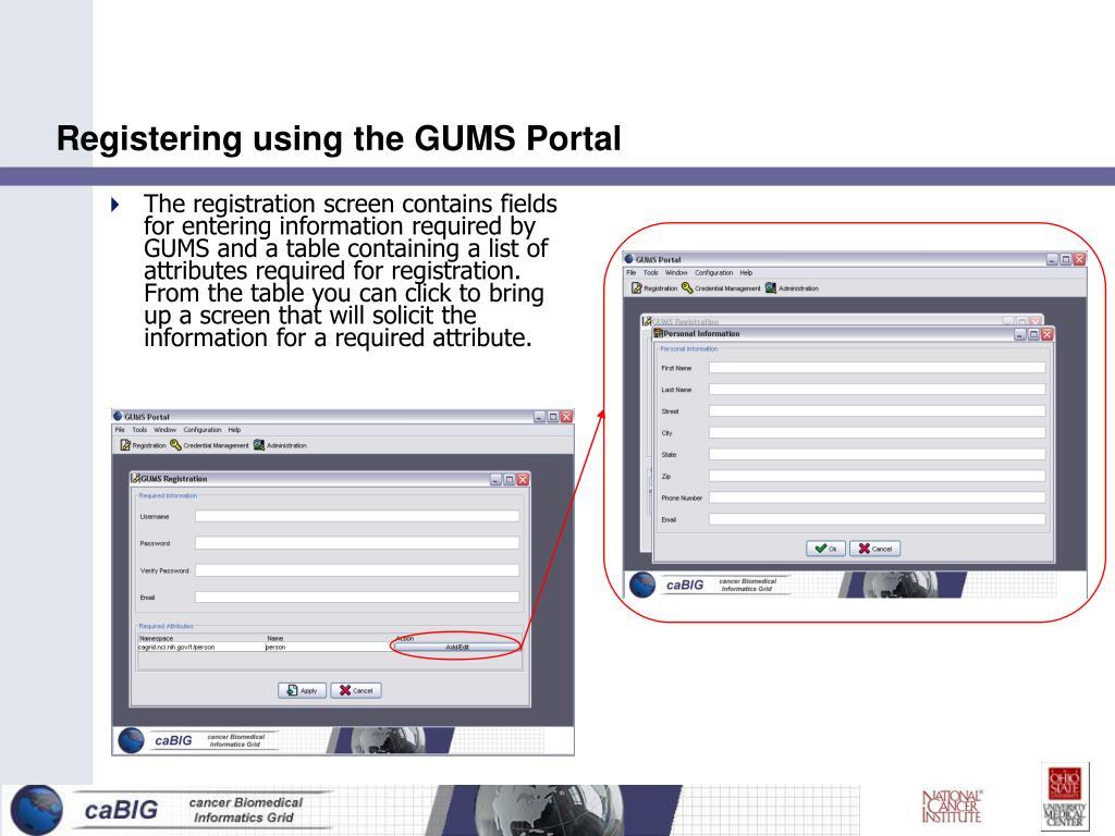 Registering using the GUMS Portal