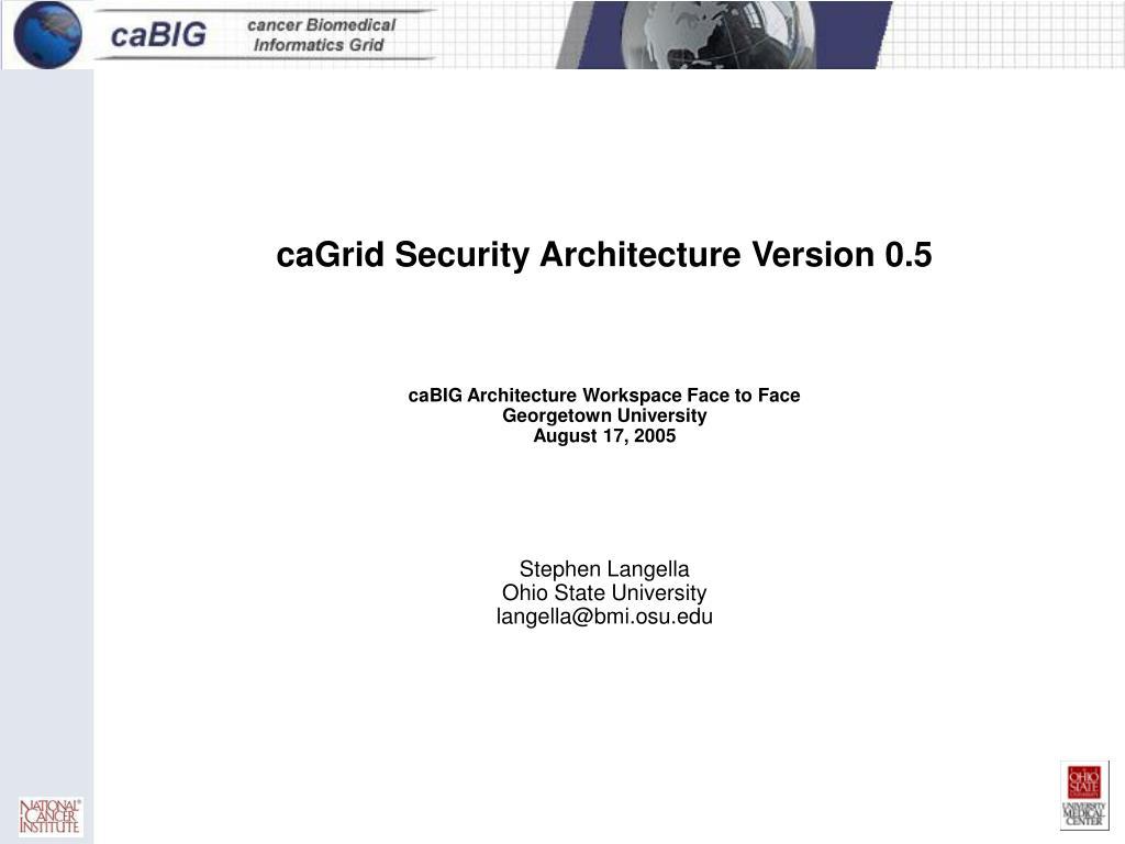 caGrid Security Architecture Version 0.5