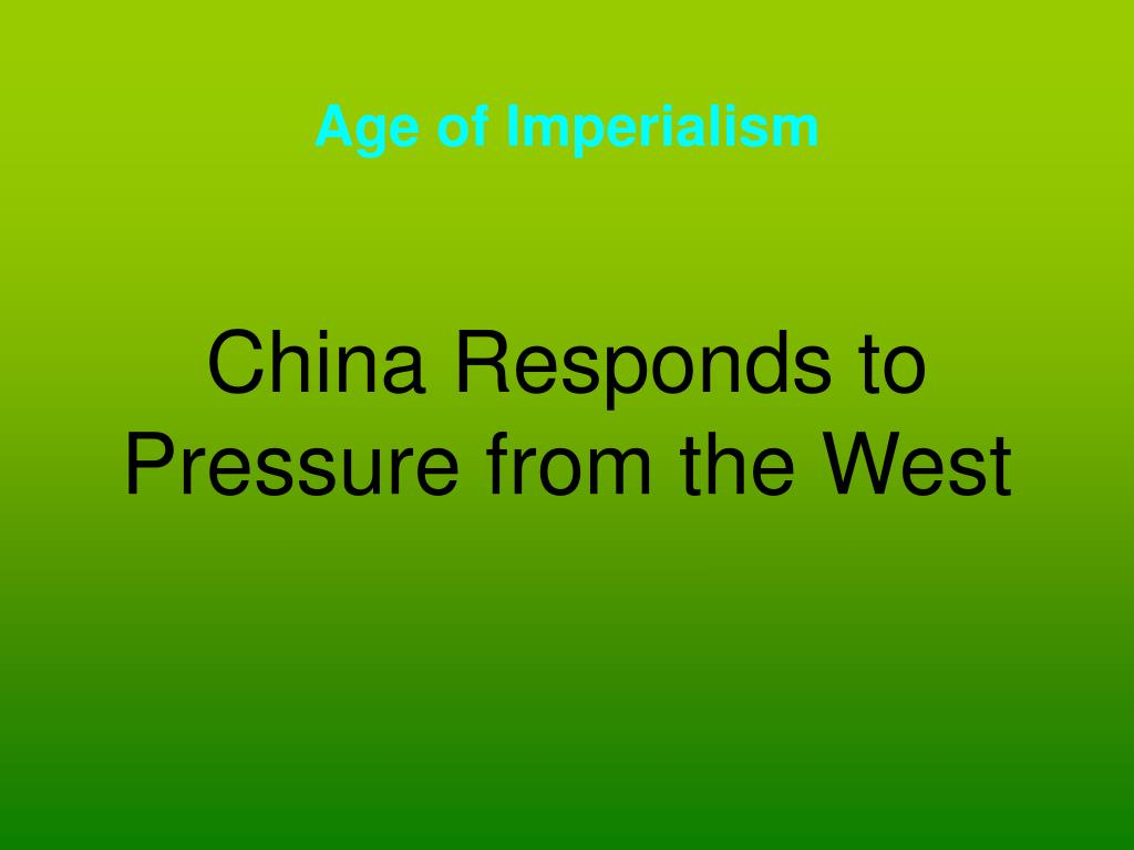 china responds to pressure from the west l.