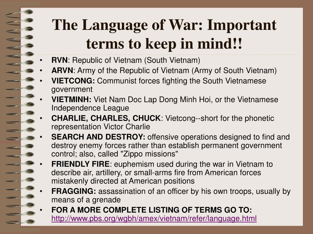 The Language of War: Important terms to keep in mind!!