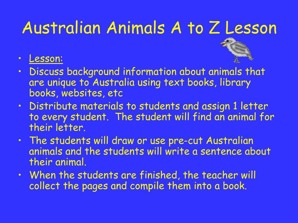 Australian Animals A to Z Lesson