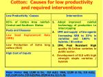 cotton causes for low productivity and required interventions