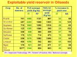exploitable yield reservoir in oilseeds