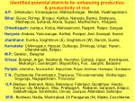 identified potential districts for enhancing production productivity of rice