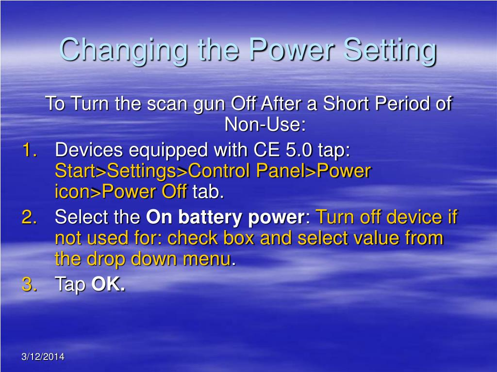 Changing the Power Setting