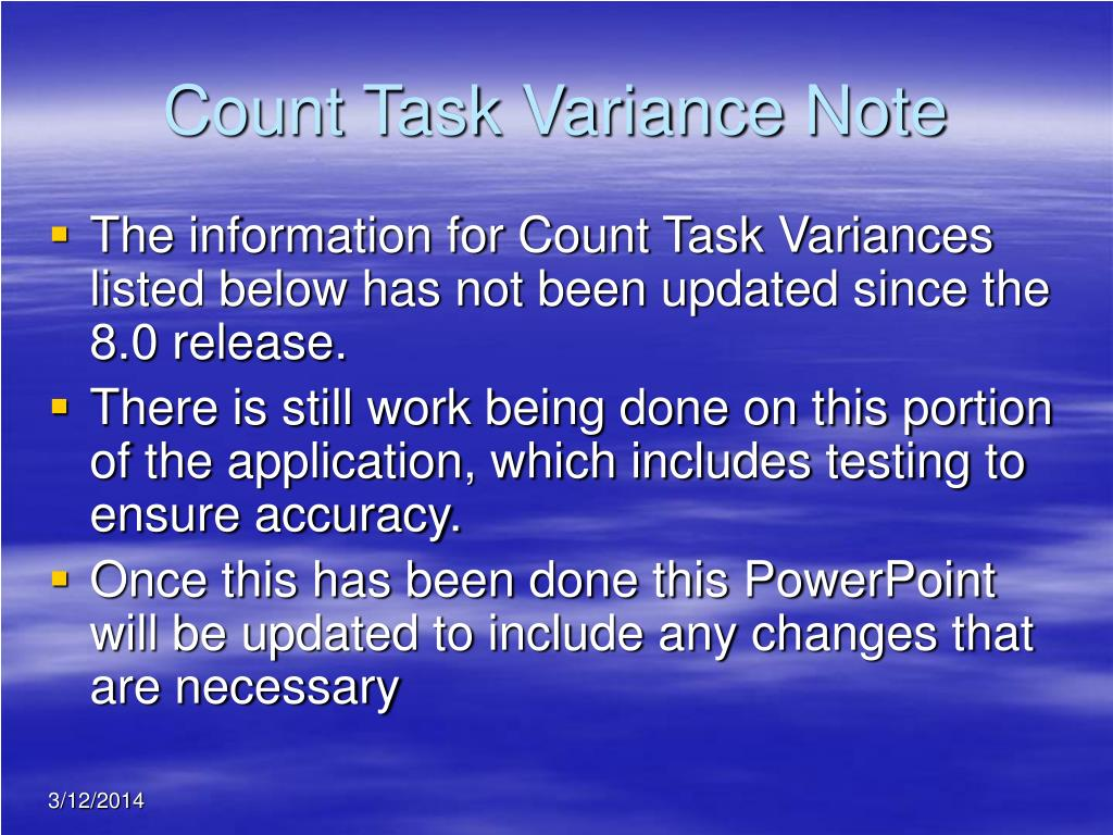 Count Task Variance Note