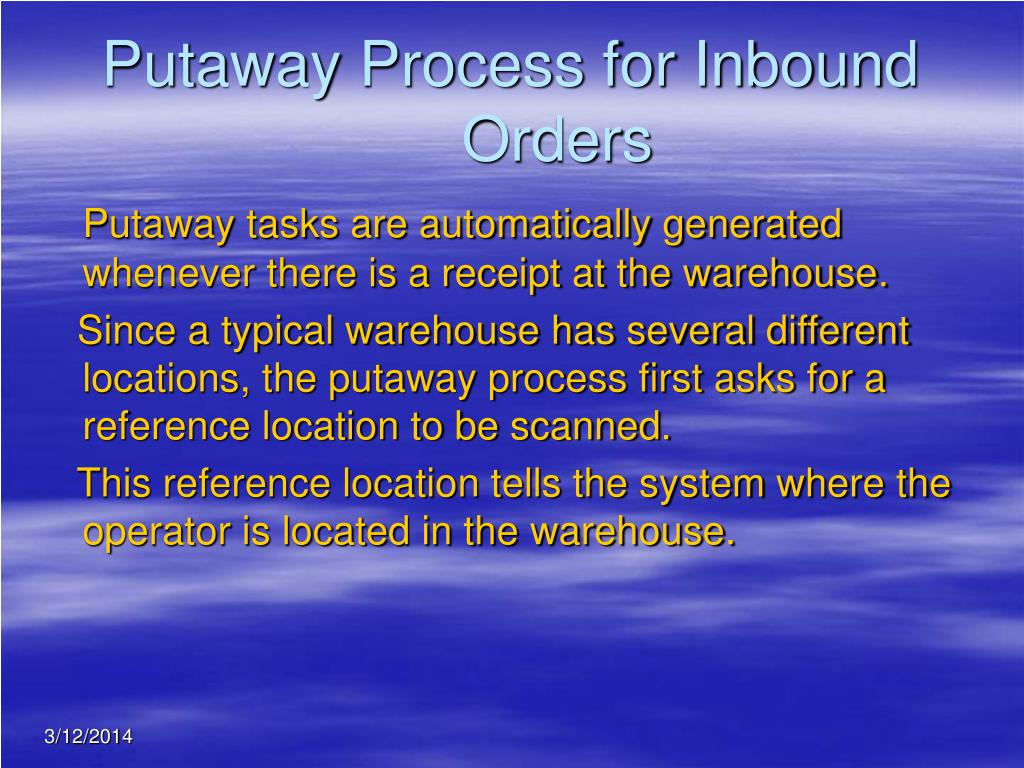 Putaway Process for Inbound Orders